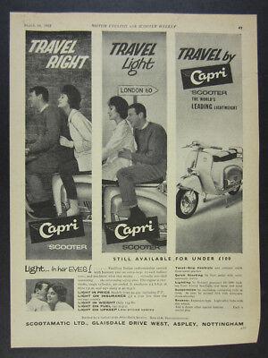 1961 Agrati CAPRI Scooter photo vintage print Ad