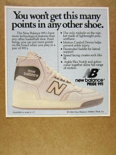 1984 New Balance Pride 991 Basketball Shoes hi-tops photo vintage print Ad