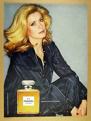 1978 Catherine Deneuve photo Chanel No.5 Perfume classic bottle vintage print Ad