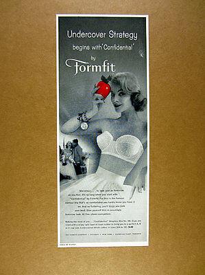 1958 Formfit Strapless Bra red apple pretty woman photo vintage print Ad