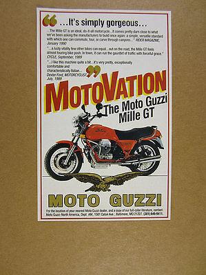 1990 Moto Guzzi Mille GT motorcycle photo vintage print Ad