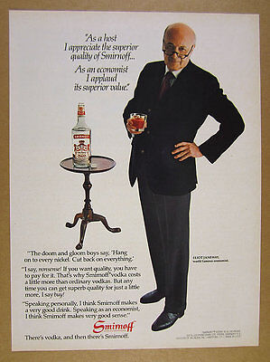 1981 Smirnoff Vodka economist Eliot Janeway photo vintage print Ad