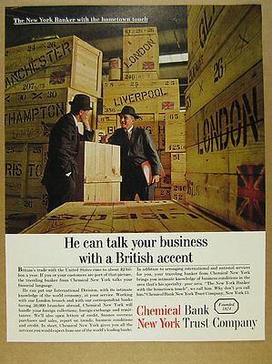 1961 Chemical Bank New York International British Trade Bankers Vintage Print Ad