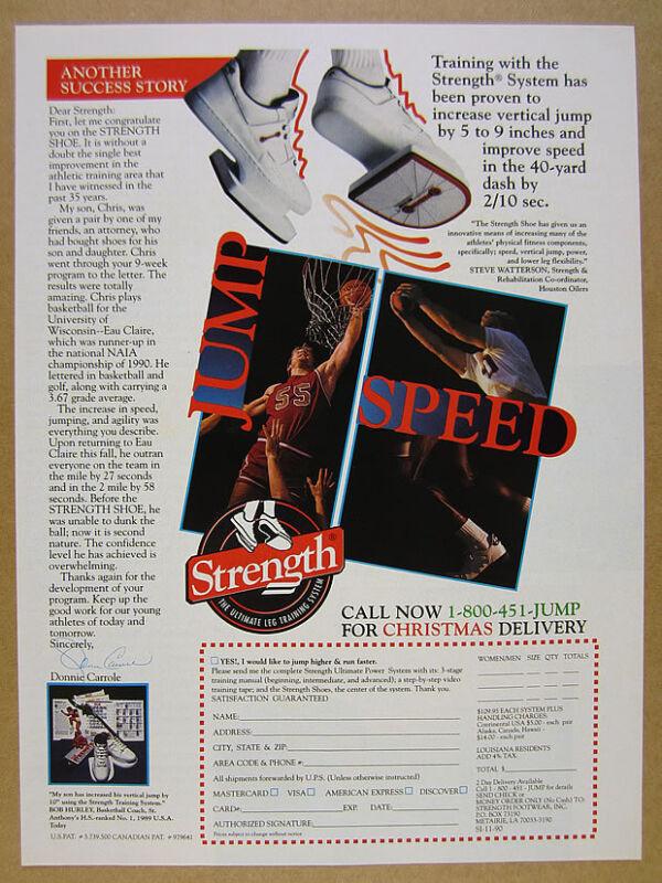 1990 Strength Shoe Leg Training System plyometric shoes photo vintage print Ad
