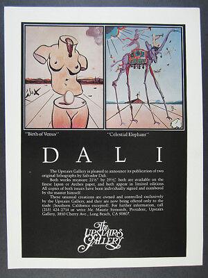 1980 Salvador Dali Birth of Venus & Celestial Elephant lithos vintage print Ad