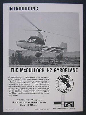 1968 McCulloch J2 J-2 Gyroplane photo 'Introducing' vintage print Ad