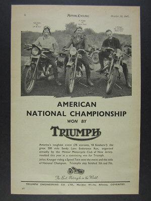 1947 Triumph Speed Twin & 3T Motorcycles Sandy Lane Enduro Win vintage print Ad
