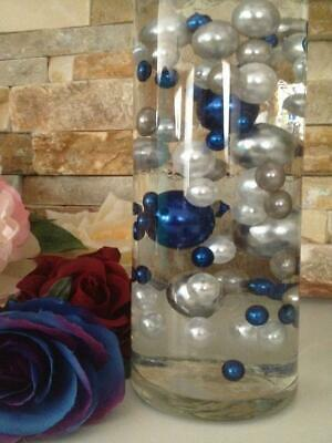 Royal blue silver white DIY Floating Pearls Centerpieces 80pcs No Hole Pearls