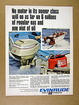 1967 Evinrude Starflite 100-S Outboard Motor color photo vintage print Ad