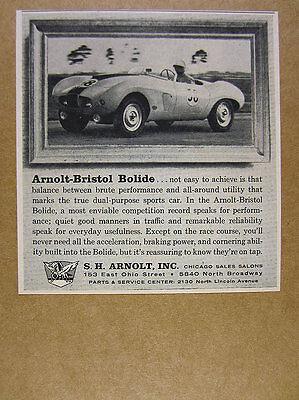 1957 Arnolt-Bristol Bolide roadster race car photo vintage print Ad