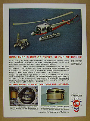 1964 Bell 47J 1 Helicopter   Oil Drilling Platform Photo Chevron Rpm Vintage Ad