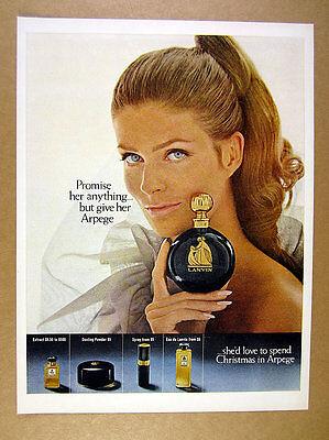 1967 Lanvin Arpege Perfume pretty woman holding bottle photo vintage print Ad