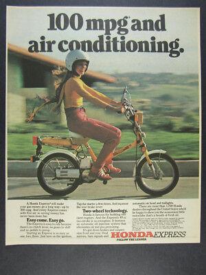 1980 Honda Express Scooter color photo vintage print Ad