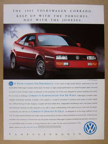 1992 VW Volkswagen CORRADO G60 red car color photo vintage print Ad