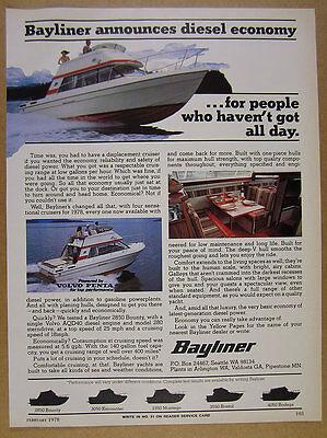 1978 Bayliner 2850 Bounty Diesel Cruiser Yacht boat photo vintage print Ad