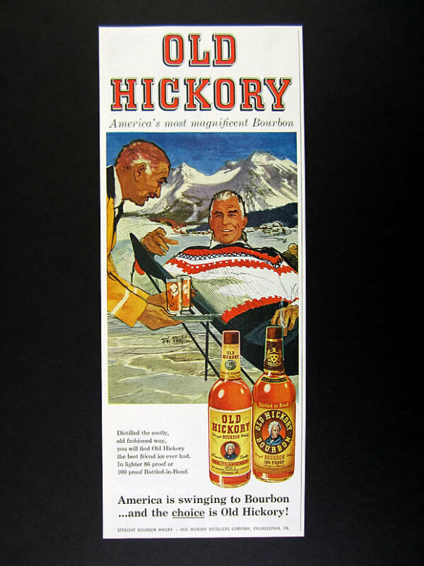 1959 Bob Peak skier ski scene art illustration Old Hickory Bourbon print Ad