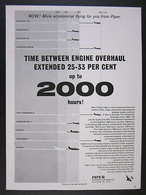 1968 Piper Airplane Aircraft Time Between Engine Overhaul Chart vintage print Ad