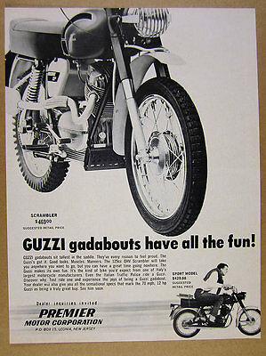 1967 Moto Guzzi 125 Scrambler motorcycle photo vintage print Ad