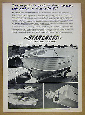 1964 Starcraft Sunchief & Holiday Aluminum Boats photos vintage print Ad