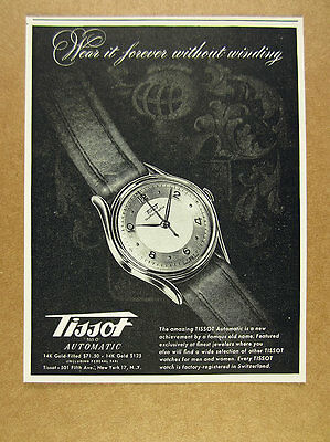 1948 Tissot Automatic Watch wristwatch vintage print Ad