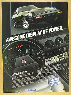 1983 Datsun 280-ZX 280ZX black car & interior dash photos vintage print Ad