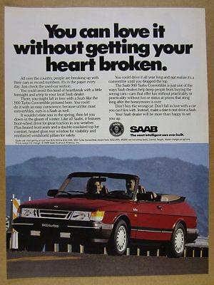 Used, 1989 Saab 900 Turbo Convertible color photo vintage print Ad for sale  Hartland