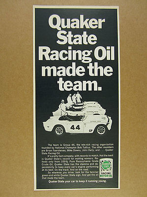 1969 Group 44 Triumph Race Cars Photo Quaker State Racing Oil Vintage Print Ad