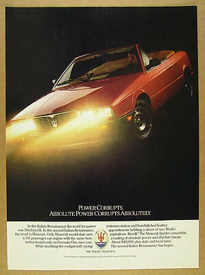 1987 Maserati Spyder Convertible color photo vintage print Ad