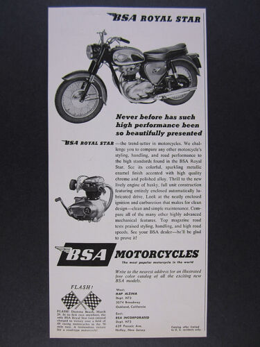 1963 BSA Royal Star Motorcycle photo vintage print Ad