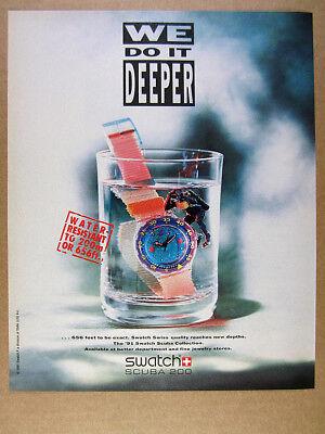 - 1991 Swatch scuba collection Medusa Watch skin diver diving art vintage print Ad