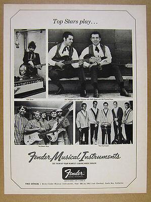 1966 Bob Dylan The Beach Boys photos Fender Guitars vintage print Ad