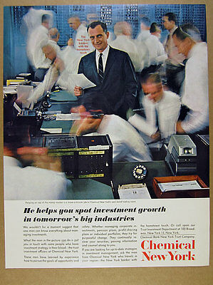 1962 Chemical Bank New York Bond Trading Room Traders Photo Vintage Print Ad