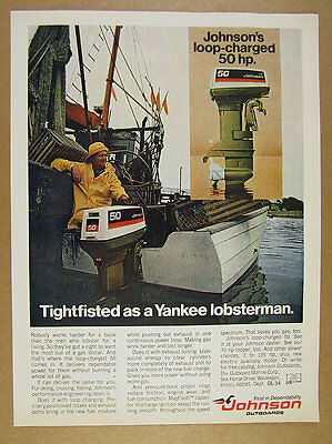 1974 Johnson 50 Outboard Motor lobster fisherman traps boat photo vintage Ad