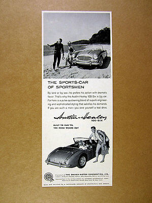 1959 Austin-Healey 100-Six convertible car skin diver photo vintage print Ad