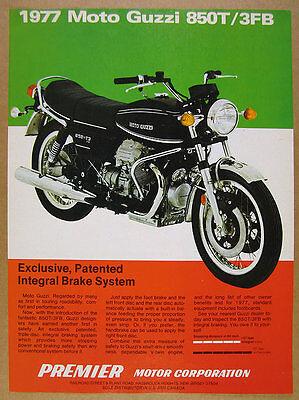 1977 Moto Guzzi 850-T3 FB Motorcycle color photo vintage print Ad