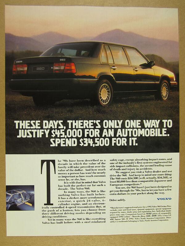 1992 Volvo 960 Sedan photo vintage print Ad