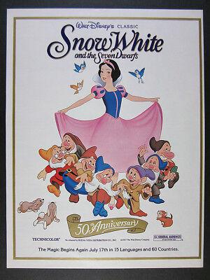 1987 Walt Disney Snow White & the Seven Dwarfs 50th Anniversary vintage print Ad
