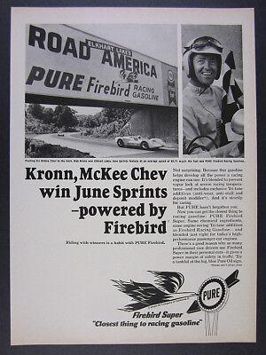 1966 Road America Mitchell Bridge photo Pure Racing Gasoline vintage print Ad