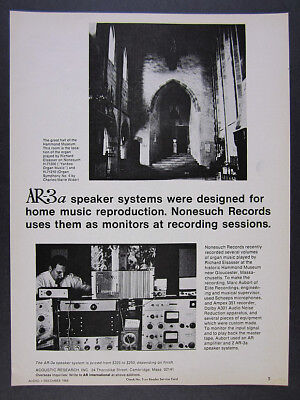 1968 Acoustic Research AR-3a Speakers Nonesuch Records Use vintage print Ad