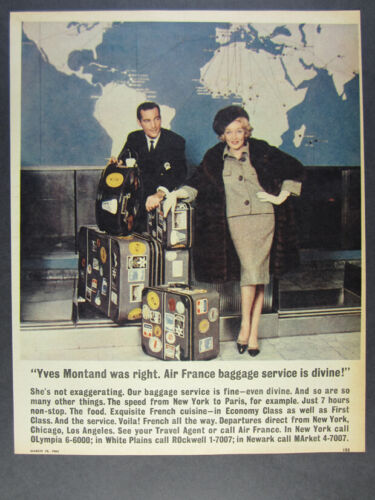1962 Air France Baggage Luggage Service Yves Montand photo vintage print Ad