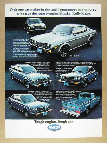 1975 Mazda Rotary Pickup Truck RX-4 & RX-3 vintage print Ad