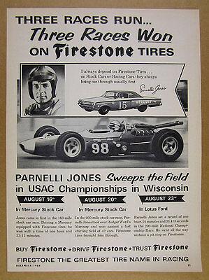 1964 Parnelli Jones Mercury Stock & Lotus Ford Race Cars Firestone vintage Ad