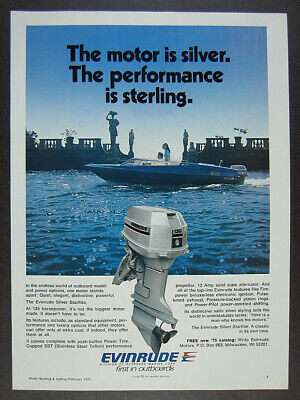1975 Evinrude 135 Silver Starflite Outboard Steury Boat photo vintage print Ad