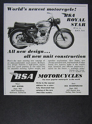 1962 BSA Royal Star Motorcycle vintage print Ad