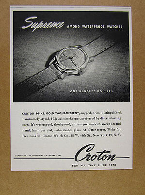 1944 Croton AQUAMEDICO Gold Watch vintage print Ad