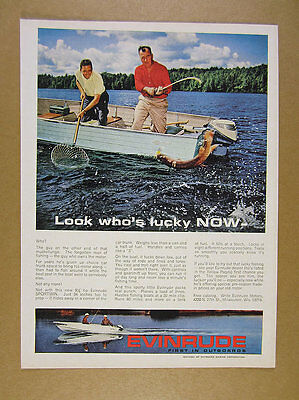 1964 Evinrude Sportwin Outboard muskie fishing mirro craft boat vintage print Ad
