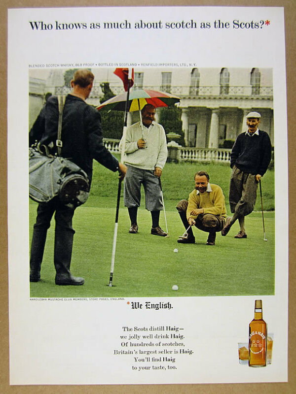 1965 handlebar mustache club members photo Haig & Haig Scotch vintage print Ad