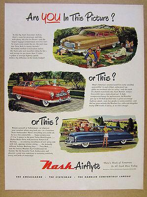 1950 Nash Statesman Rambler Convertible & Ambassador color art vintage print Ad