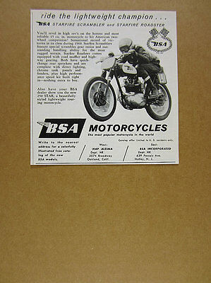 1961 BSA Starfire Scrambler motorcycle racing photo vintage print Ad