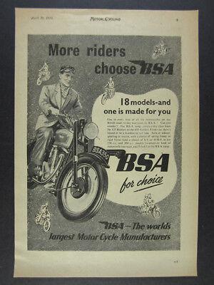 1950 BSA 350 350cc Motorcycle illustration art vintage print Ad